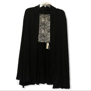 Kensie Open Front Lace Panel Cardigan Black XL